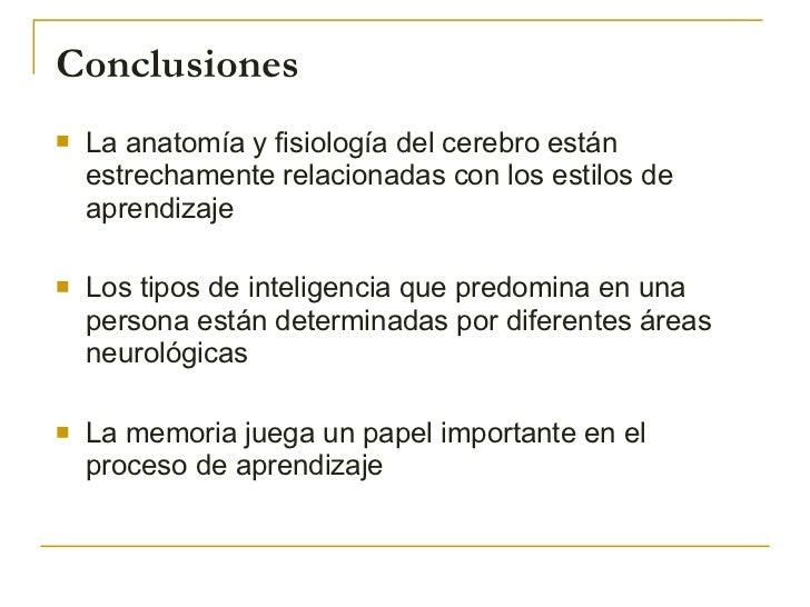 Conclusiones <ul><li>La anatomía y fisiología del cerebro están estrechamente relacionadas con los estilos de aprendizaje ...