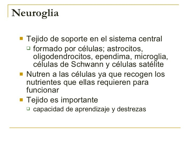 Neuroglia <ul><li>Tejido de soporte en el sistema central </li></ul><ul><ul><li>formado por células; astrocitos, oligodend...