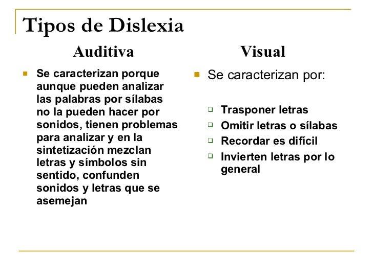 Tipos de Dislexia <ul><li>Se caracterizan porque aunque pueden analizar las palabras por sílabas no la pueden hacer por so...