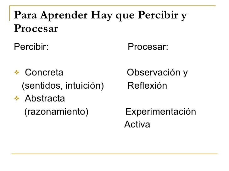 Para Aprender Hay que Percibir y Procesar <ul><li>Percibir:  Procesar: </li></ul><ul><li>Concreta  Observación y </li></ul...