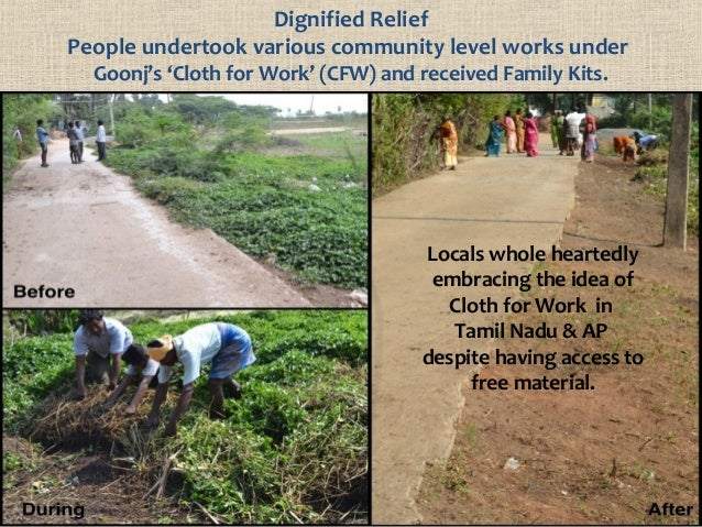 Dignified Relief People undertook various community level works under Goonj's 'Cloth for Work' (CFW) and received Family K...