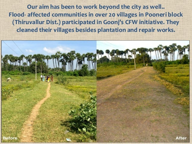Our aim has been to work beyond the city as well.. Flood- affected communities in over 20 villages in Pooneri block (Thiru...