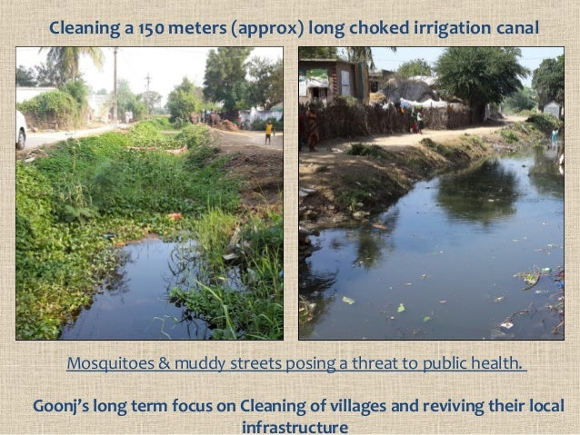 Cleaning a 150 meters (approx) long choked irrigation canal Mosquitoes & muddy streets posing a threat to public health. G...