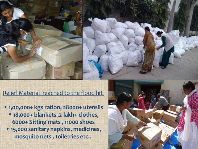 Relief Material reached to the flood hit • 1,00,000+ kgs ration, 28000+ utensils • 18,000+ blankets ,2 lakh+ clothes, 6000...