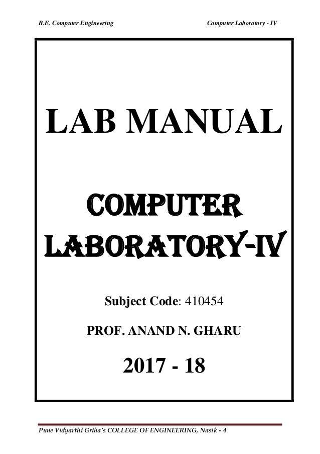 COMPUTER LABORATORY-4 LAB MANUAL BE COMPUTER ENGINEERING