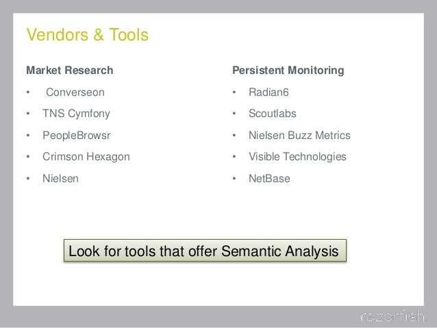 Vendors & Tools Market Research • Converseon • TNS Cymfony • PeopleBrowsr • Crimson Hexagon • Nielsen Persistent Monitorin...