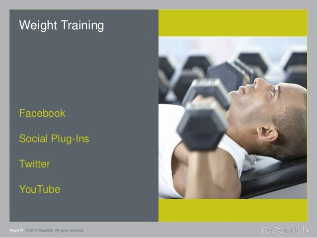 Page 17 © 2010 Razorfish. All rights reserved. Weight Training Facebook Social Plug-Ins Twitter YouTube