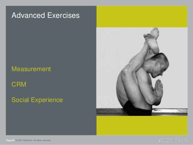 Page 26 © 2010 Razorfish. All rights reserved. Advanced Exercises Measurement CRM Social Experience
