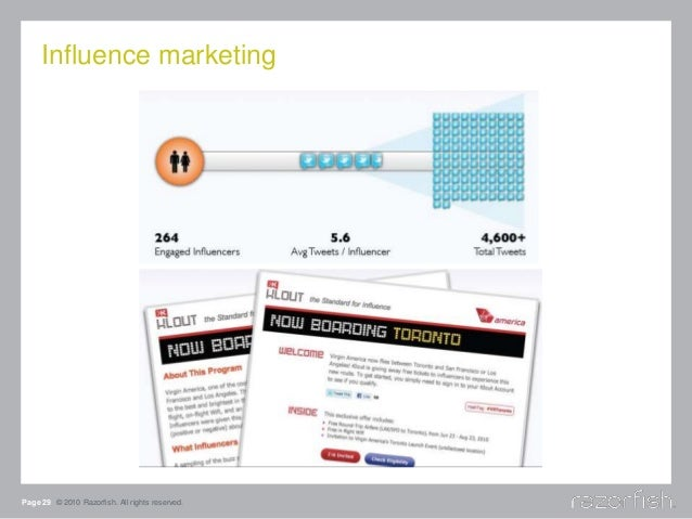 Influence marketing Page 29 © 2010 Razorfish. All rights reserved.