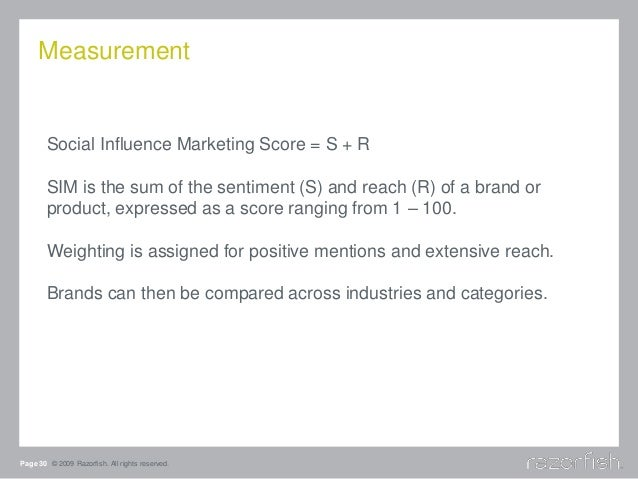 Measurement Page 30 © 2009 Razorfish. All rights reserved. Social Influence Marketing Score = S + R SIM is the sum of the ...