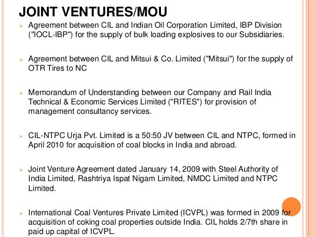 Coal india limited an overview joint venturesmou agreement spiritdancerdesigns Image collections