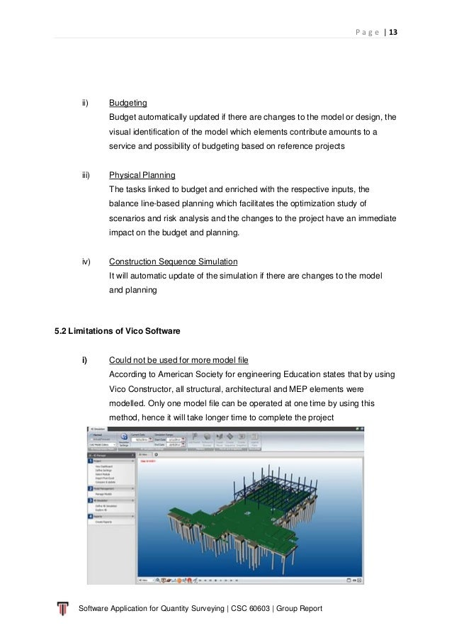 P a g e   13 Software Application for Quantity Surveying   CSC 60603   Group Report ii) Budgeting Budget automatically upd...