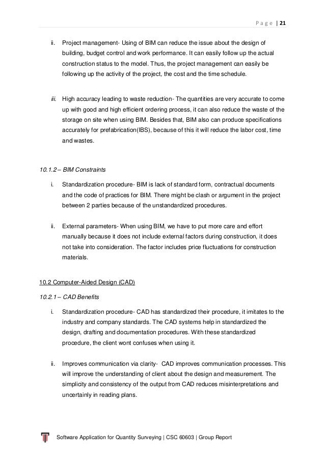 P a g e   21 Software Application for Quantity Surveying   CSC 60603   Group Report ii. Project management- Using of BIM c...