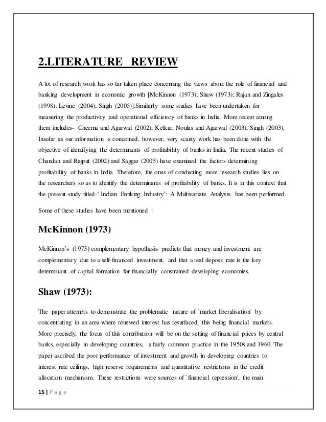 Literature Review for profitability analysis of public sector banks Courses Report Submissions Chapters ERT     Synthesis and Design Process    Chapter    Literature Review