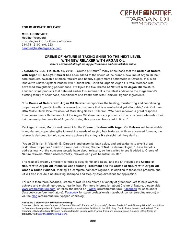 <br />FOR IMMEDIATE RELEASE<br />MEDIA CONTACT: <br />Heather Woodard<br />m strategies inc. for Creme of Nature  <br />2...
