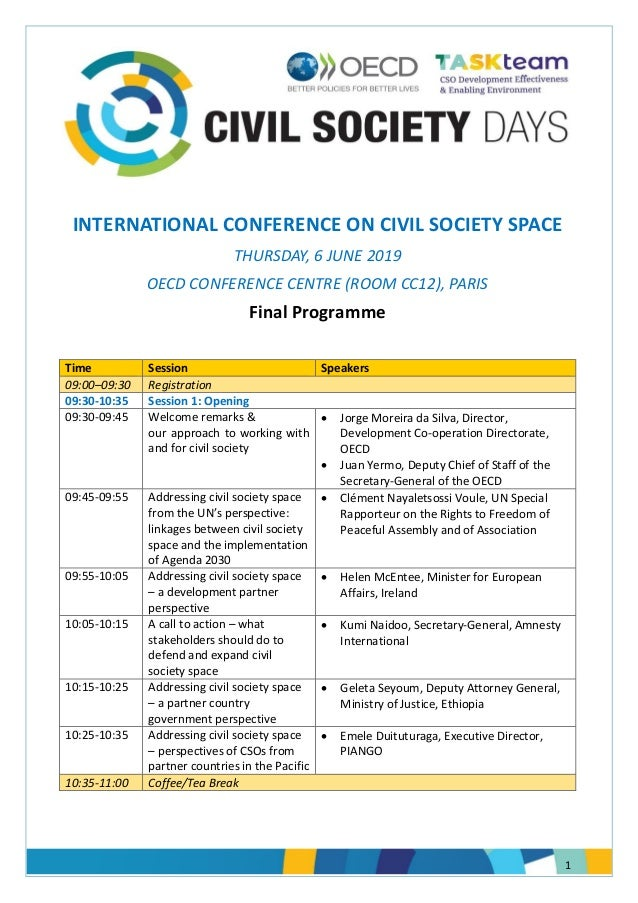 1 INTERNATIONAL CONFERENCE ON CIVIL SOCIETY SPACE THURSDAY, 6 JUNE 2019 OECD CONFERENCE CENTRE (ROOM CC12), PARIS Final Pr...