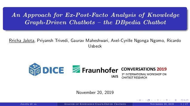 An Approach for Ex-Post-Facto Analysis of Knowledge Graph-Driven Chatbots – the DBpedia Chatbot Rricha Jalota, Priyansh Tr...