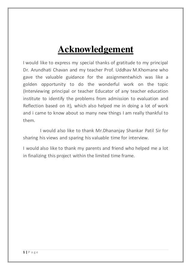 Assignment on Interview of a Principal of a Teacher Education Institu…