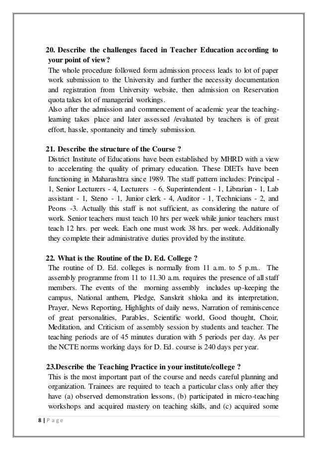 Assignment on Interview of a Principal of a Teacher