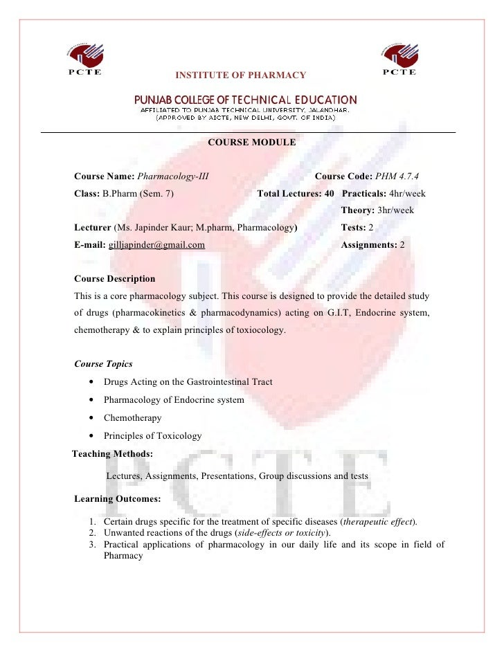 INSTITUTE OF PHARMACY                                       COURSE MODULE   Course Name: Pharmacology-III                 ...