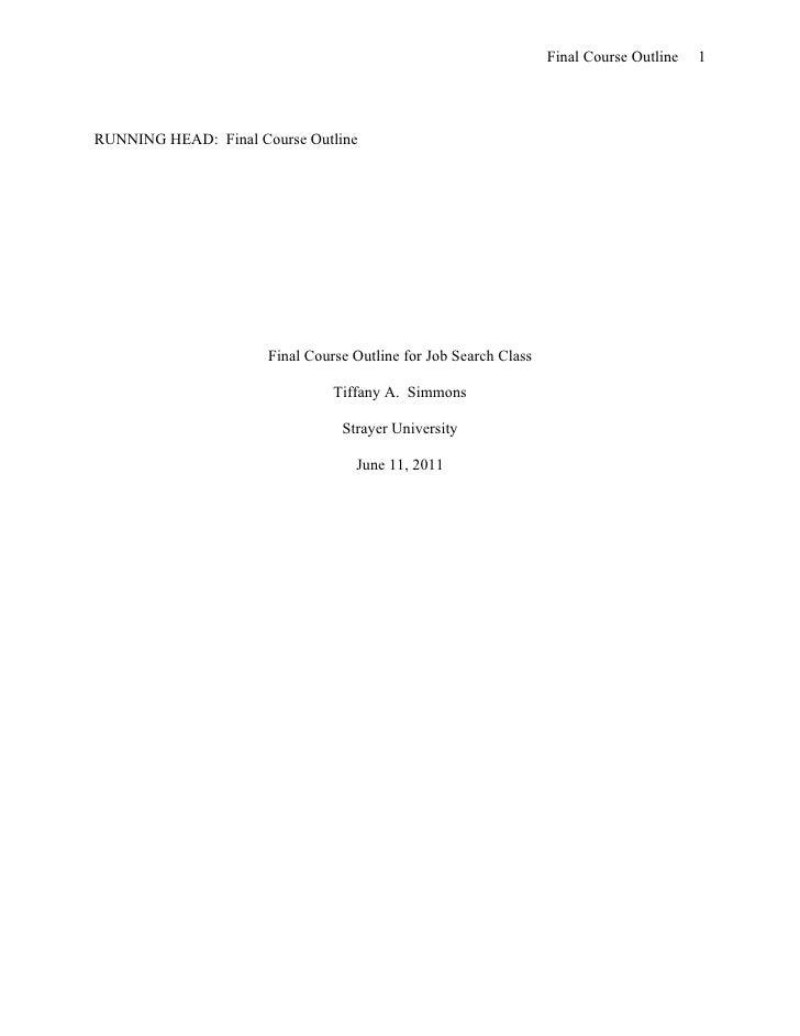 Final Course Outline   1RUNNING HEAD: Final Course Outline                      Final Course Outline for Job Search Class ...