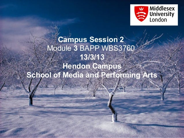 Campus Session 2     Module 3 BAPP WBS3760              13/3/13          Hendon CampusSchool of Media and Performing Arts