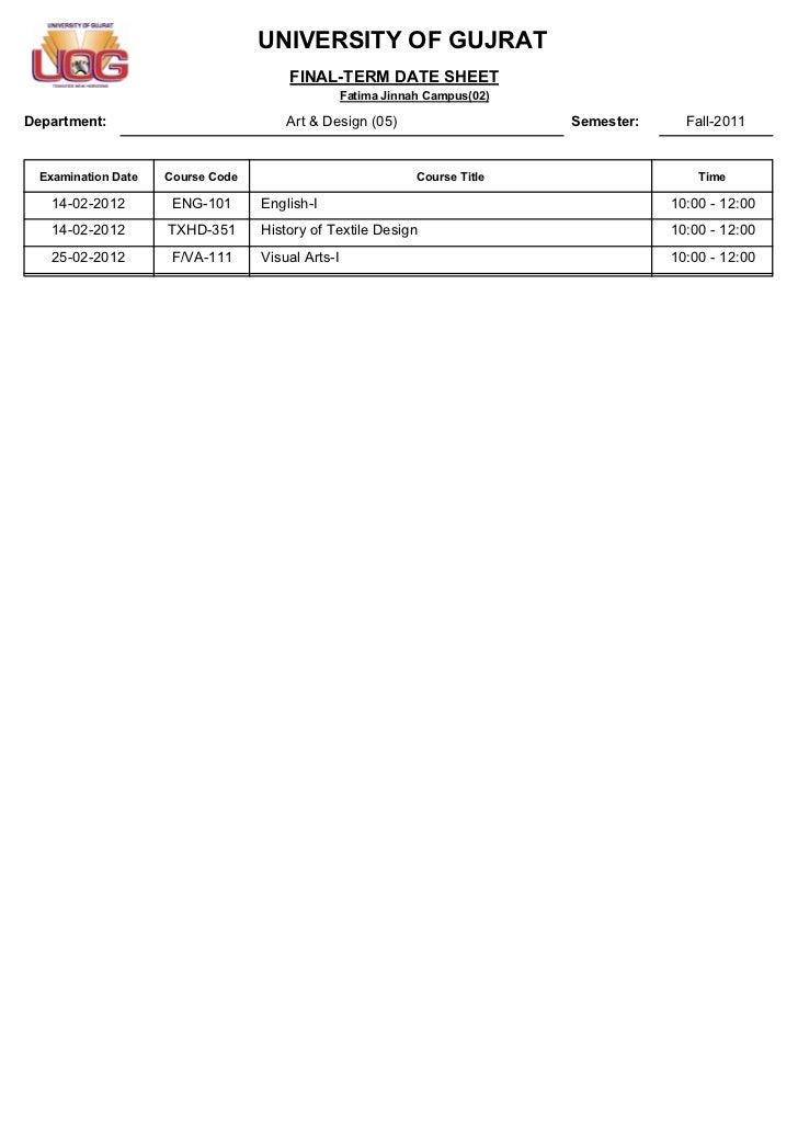 UNIVERSITY OF GUJRAT                                       FINAL-TERM DATE SHEET                                          ...