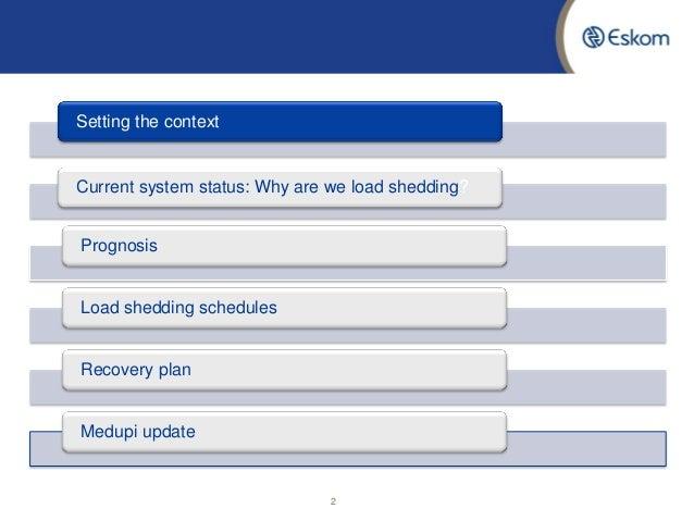 Eskom load shedding update