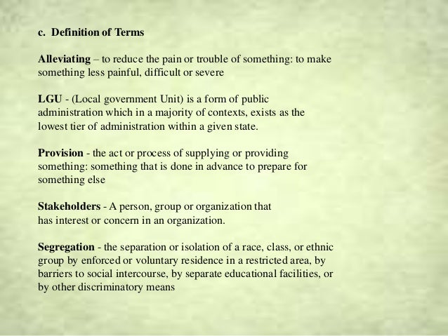 research paper definition of terms sample