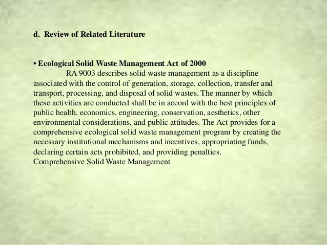 literature review of worms in waste management