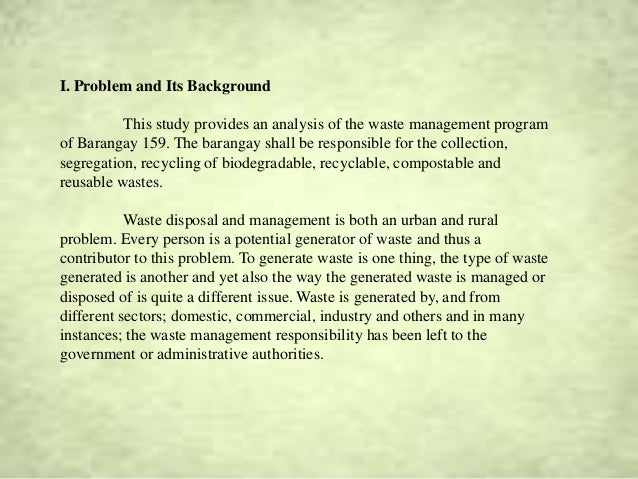 Waste Management Research - City University of Pasay (BPG)