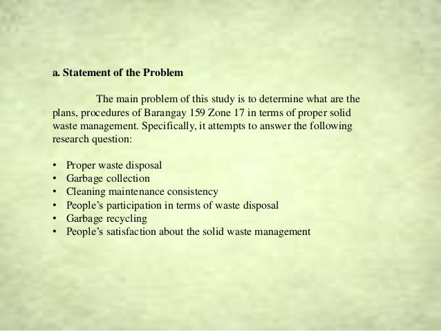 Thesis statement on waste management