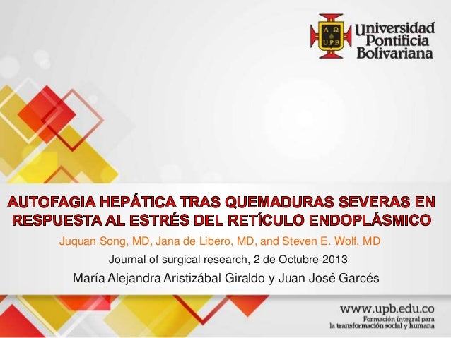 Juquan Song, MD, Jana de Libero, MD, and Steven E. Wolf, MD Journal of surgical research, 2 de Octubre-2013 María Alejandr...