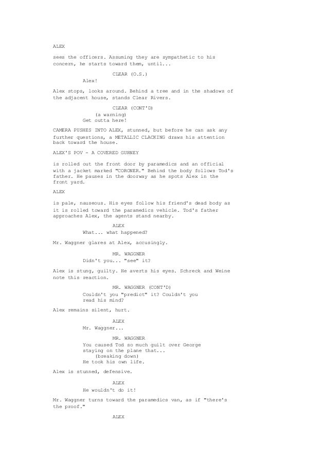 Final Destination 1 Shooting Script With Original Ending