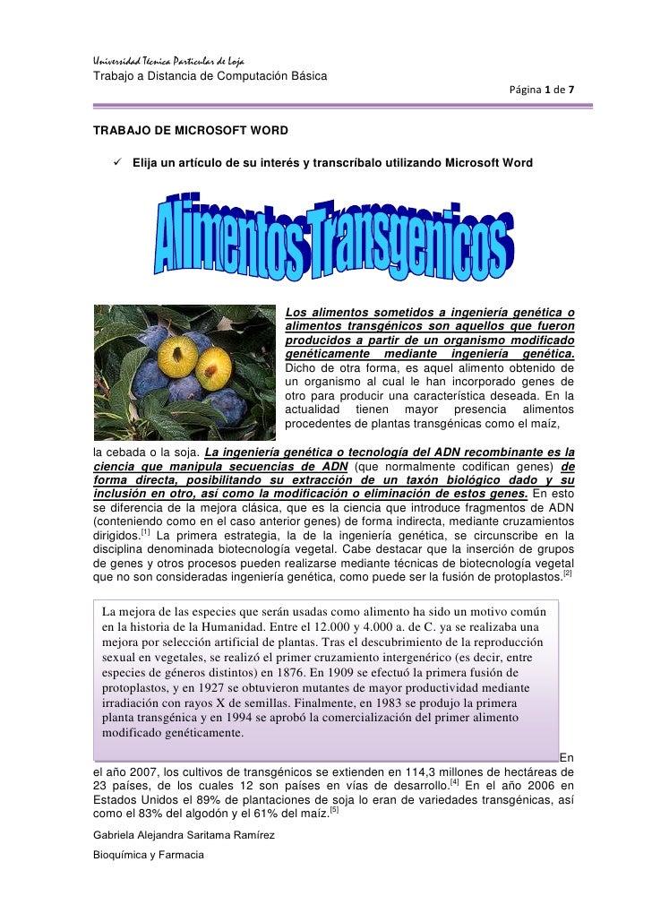 TRABAJO DE MICROSOFT WORD<br />Elija un artículo de su interés y transcríbalo utilizando Microsoft Word<br />15240-3810Los...
