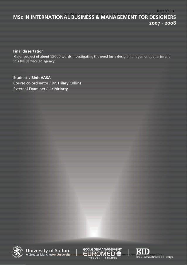 BinitVASA Roleofafunctionaldesignmanagerinthetraditionalfullserviceadvertisingagencyformat.   1  Univers...
