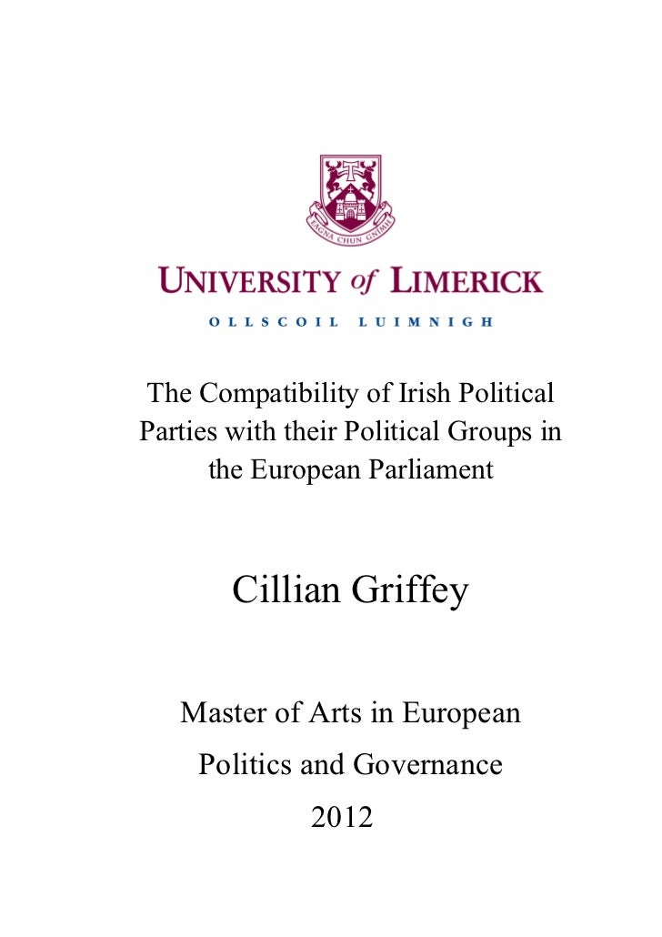 The Compatibility of Irish PoliticalParties with their Political Groups in      the European Parliament        Cillian Gri...