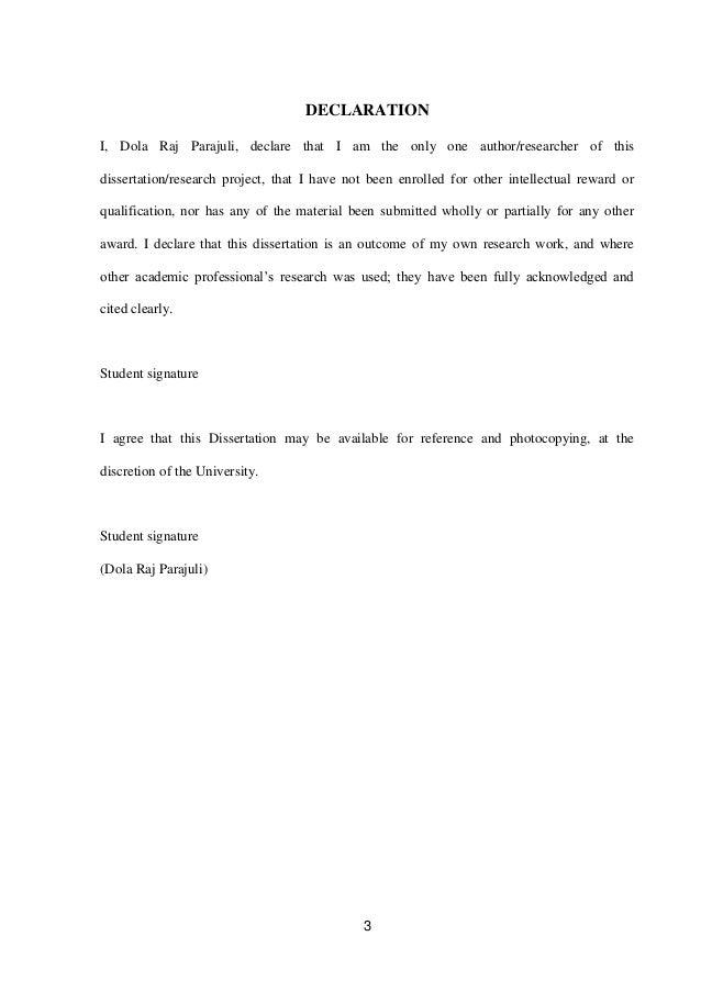 Mba dissertation declaration