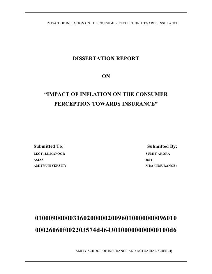 IMPACT OF INFLATION ON THE CONSUMER PERCEPTION TOWARDS INSURANCE                         DISSERTATION REPORT              ...