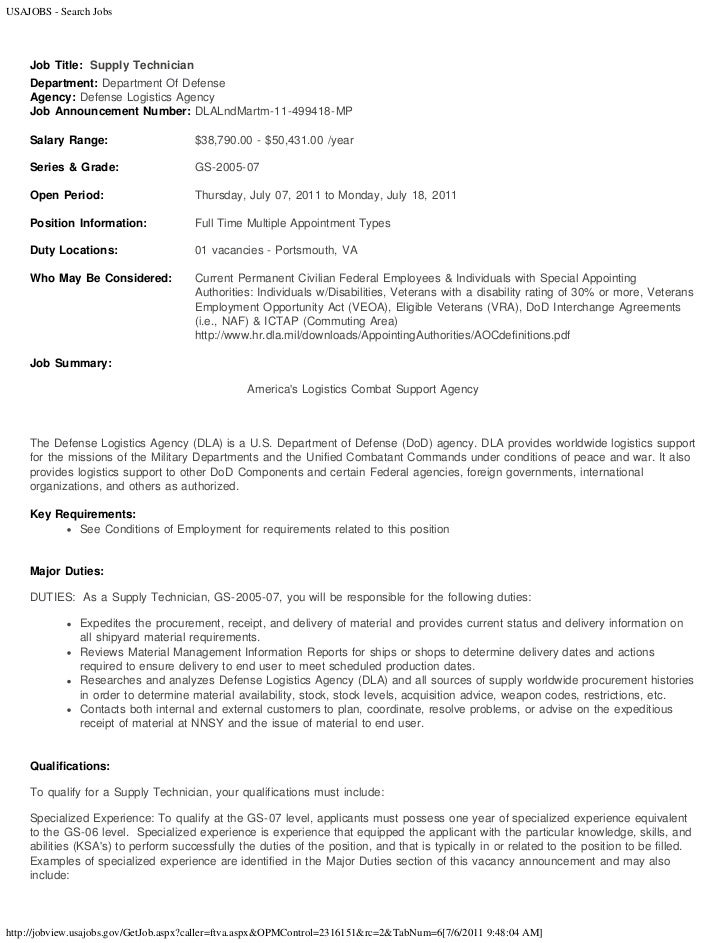 USAJOBS   Search Jobs Job Title: Supply Technician Department: Department  Of Defense Agency: ...
