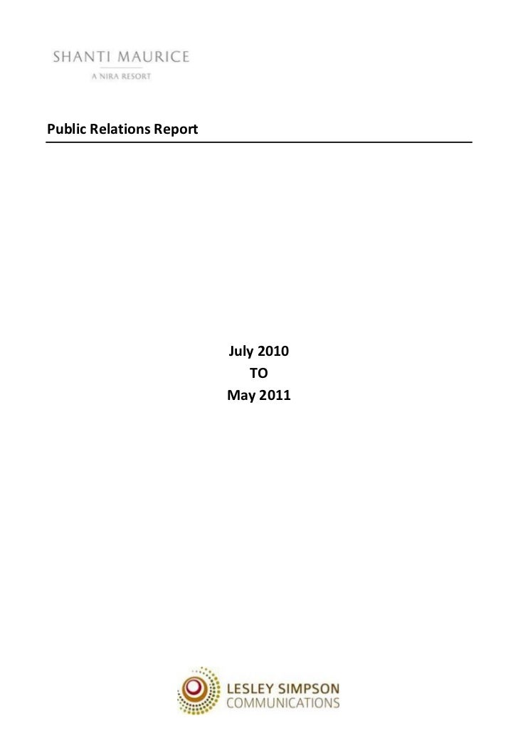 Public Relations Report                          July 2010                             TO                          May 2011