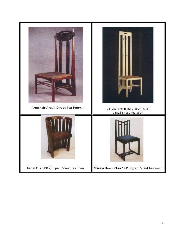 Furniture design by charles rennie mackintosh for Tea room design quarter
