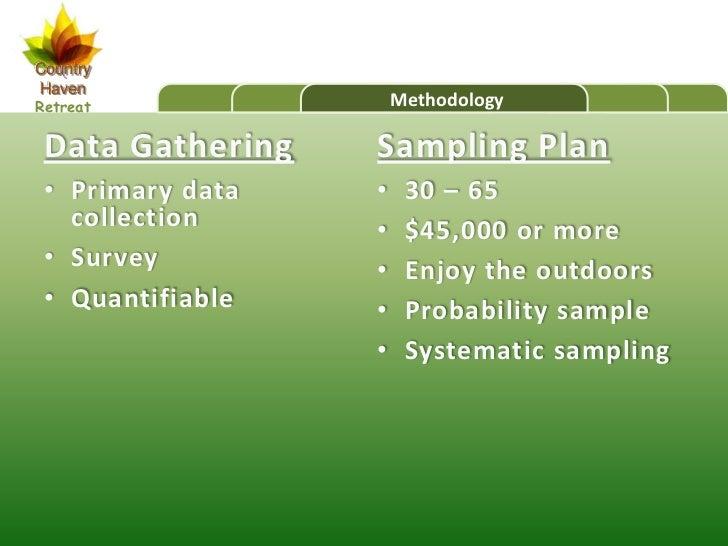 CountryHavenRetreat               Methodology Data Gathering   Sampling Plan • Primary data   •    30 – 65   collection   ...