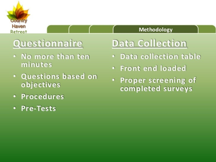 CountryHavenRetreat                       Methodology Questionnaire          Data Collection • No more than ten     • Data...