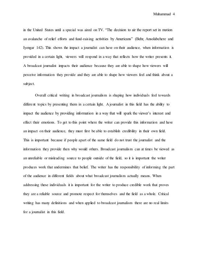 final draft essay broadcast journalism essay  recognition 4