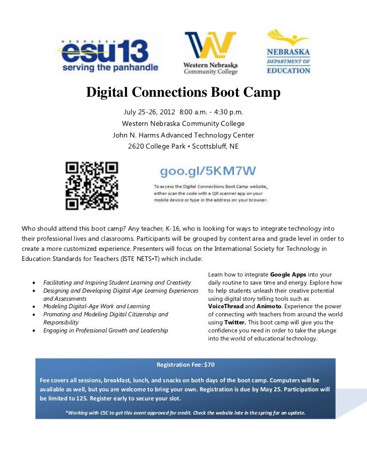Digital Connections Boot Camp                                         July 25-26, 2012 8:00 a.m. - 4:30 p.m.              ...