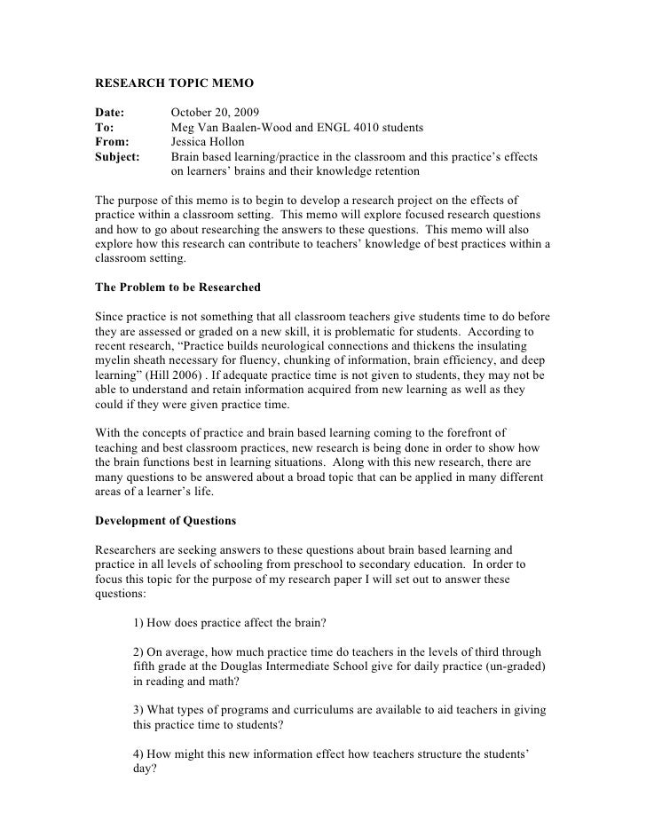 memorandum style report