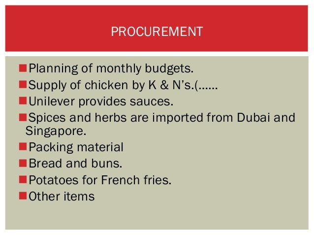 Supply chaiin management practices at kfc