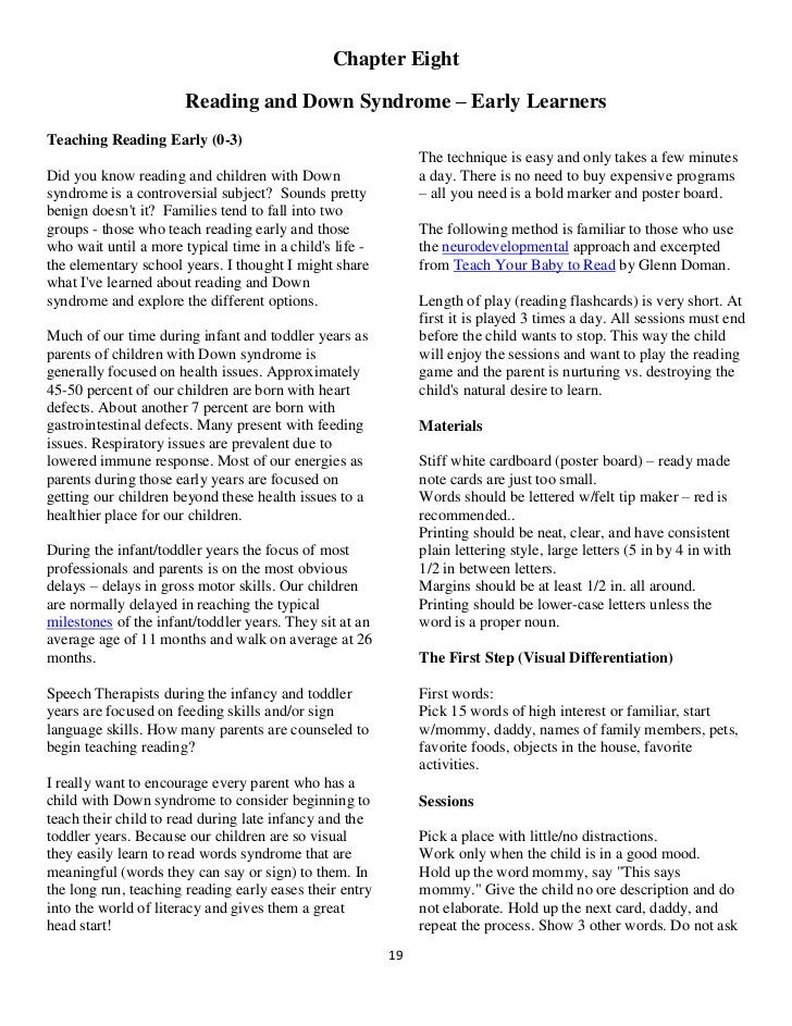 Chapter Eight                       Reading and Down Syndrome – Early LearnersTeaching Reading Early (0-3)                ...