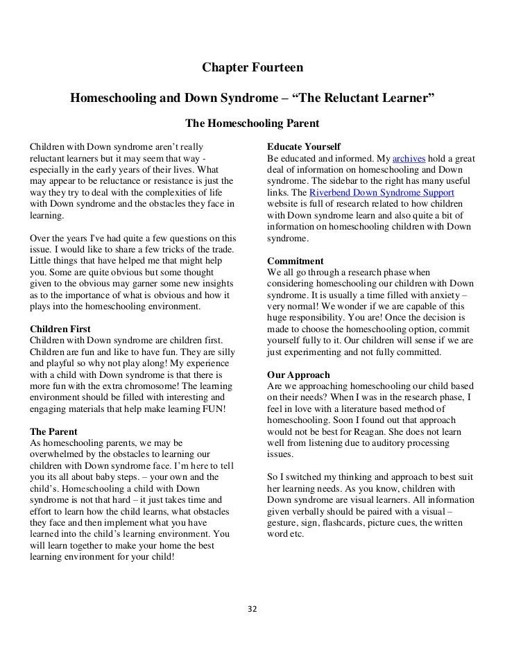 Homeschooling Children with Down Syndrome